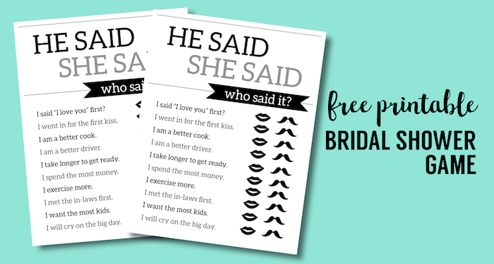 he said she said bridal shower game template - free printable wedding shower games he said she said
