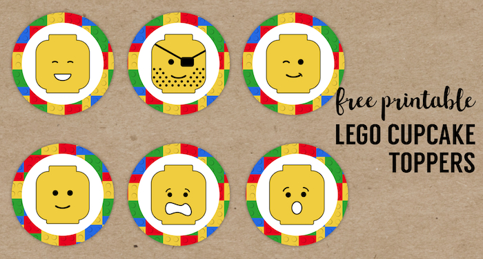 Lego Cupcake Toppers Printable. Free printable lego man party cupcake decoration. Easy DIY lego party. How to make simple lego treats. #papertraildesign #lego #legoparty #legocupcakes