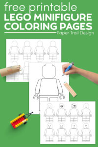 Printable Lego minifigure template coloring sheets with colored pencils, Lego car, and kids hand with marker with text overlay- free printable minifigure coloring pages