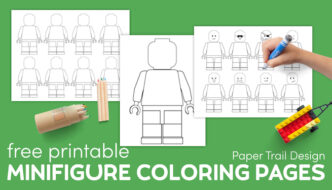 Printable Lego minifigure template coloring page with colored pencils, lego car, and kids hand with marker with text overlay- free printable minifigure coloring pages