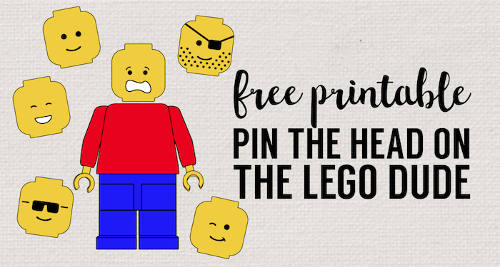 Pin the Head on the Lego Man Party Game Free Printable. Easy DIY lego party game idea. Lego theme party game on a budget. #papertraildesign #legoparty #legopartygame #lego