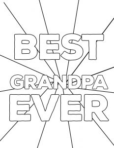 Happy Father's Day Coloring Pages Free Printables for Grandpa. DIY easy Father's Day ideas. Fun present from kids. Best Grandpa Ever coloring sheet. #papertraildesign #dadsday #fathersdayideas #fathersdaygifts