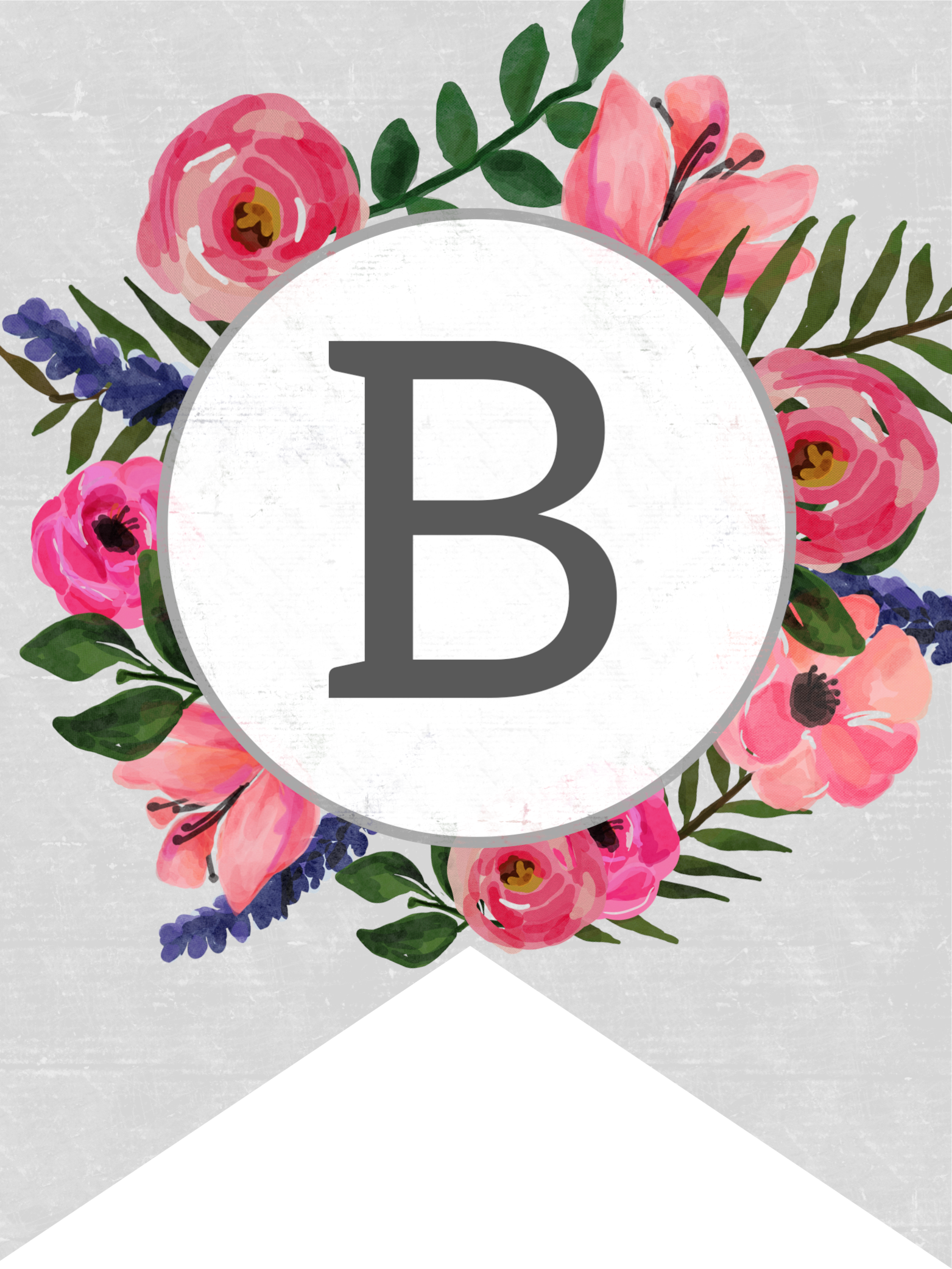 picture relating to Printable Flower named Floral Alphabet Banner Letters Absolutely free Printable - Paper Path
