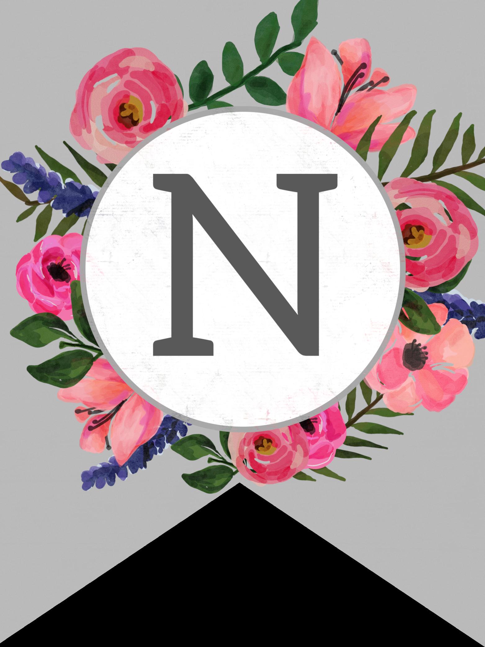 flower banner alphabet letters free printable n