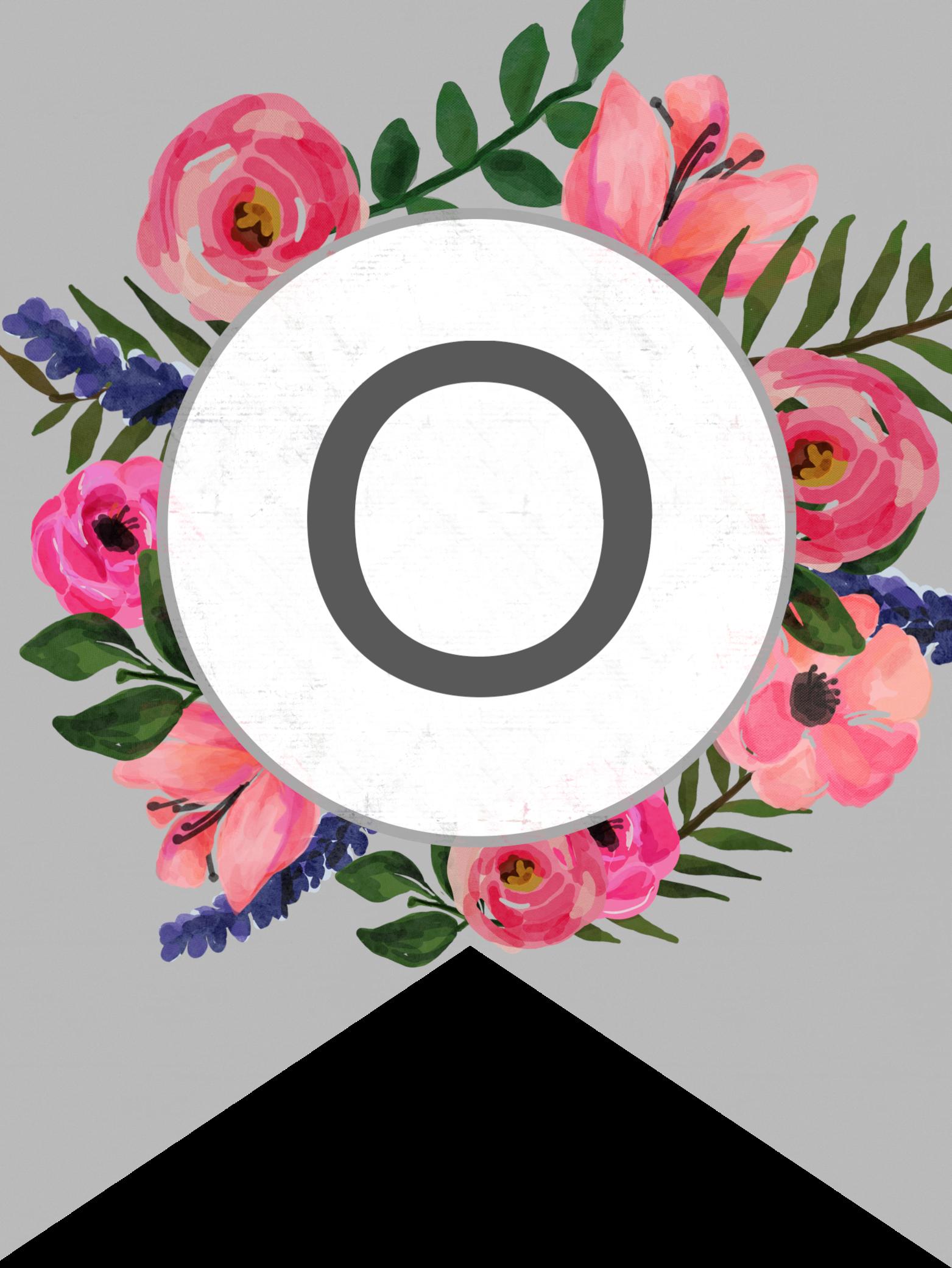 Floral-Banner-alphabet-O.png 1,563×2,083 píxeles   Free ...