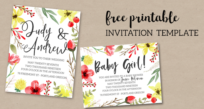 Pink Yellow Flowers Free Printable Invitation Template Easy Customizable Wedding Birthday Or
