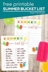 free printable summer bucket list with summer bucket list ideas printable with text overlay- free printable summer bucket list