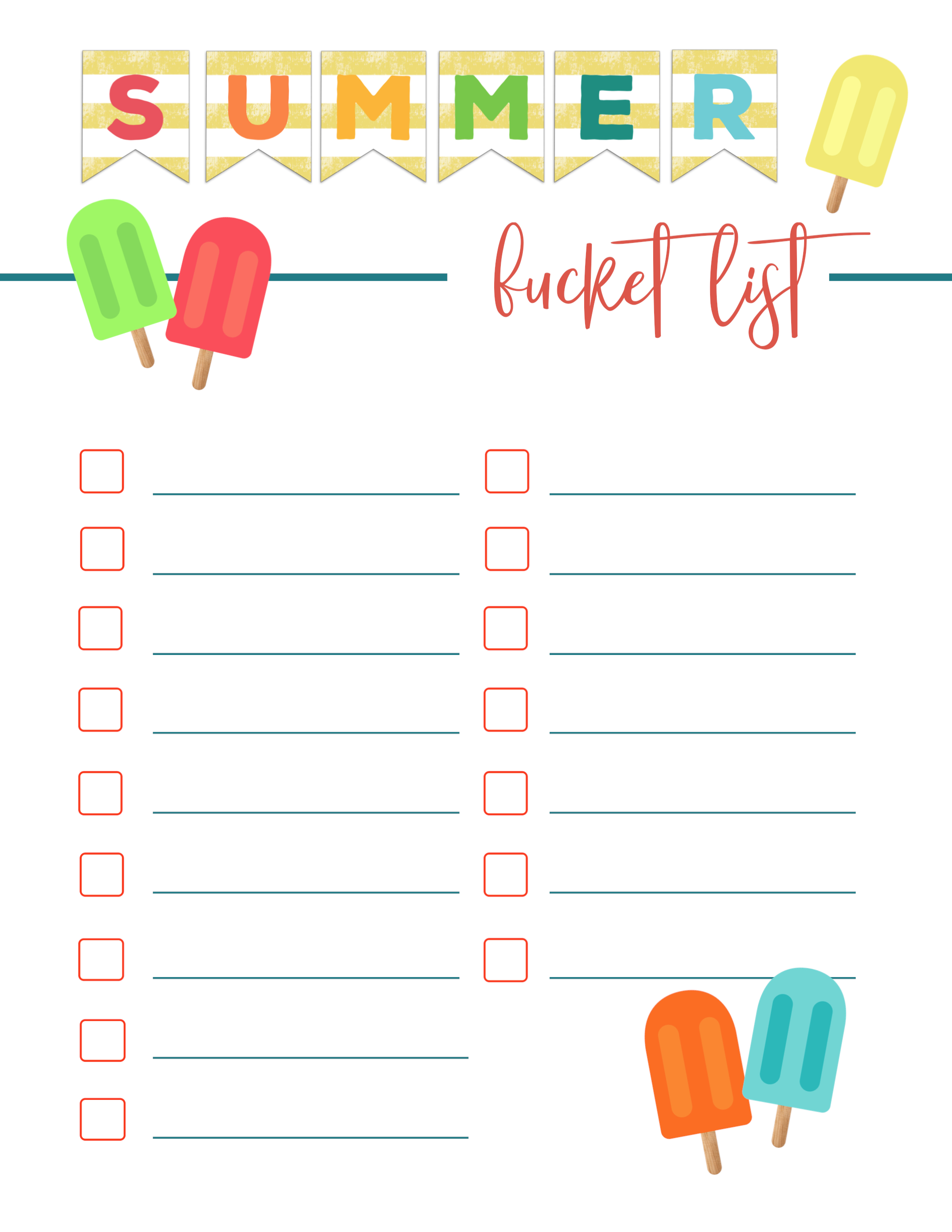free printable summer bucket list ideas template - paper trail design