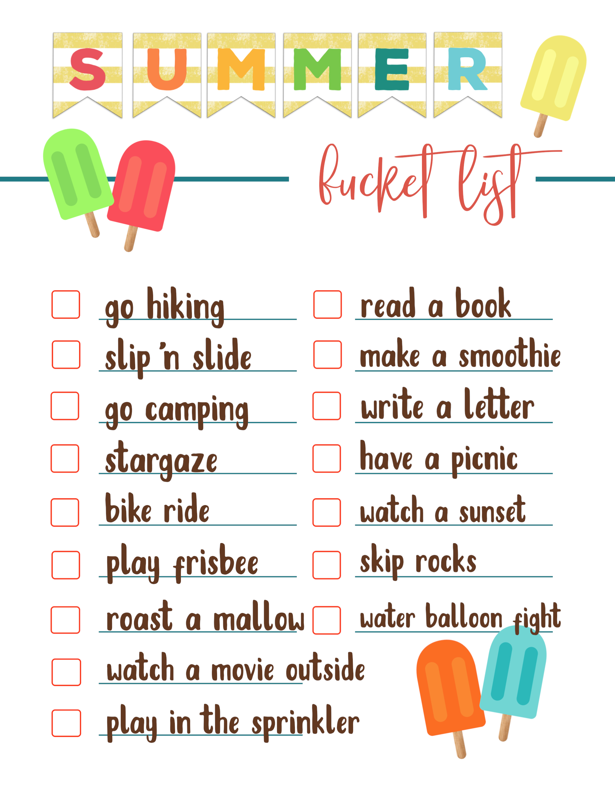 Free Printable Summer Bucket List Ideas Template Paper Trail Design