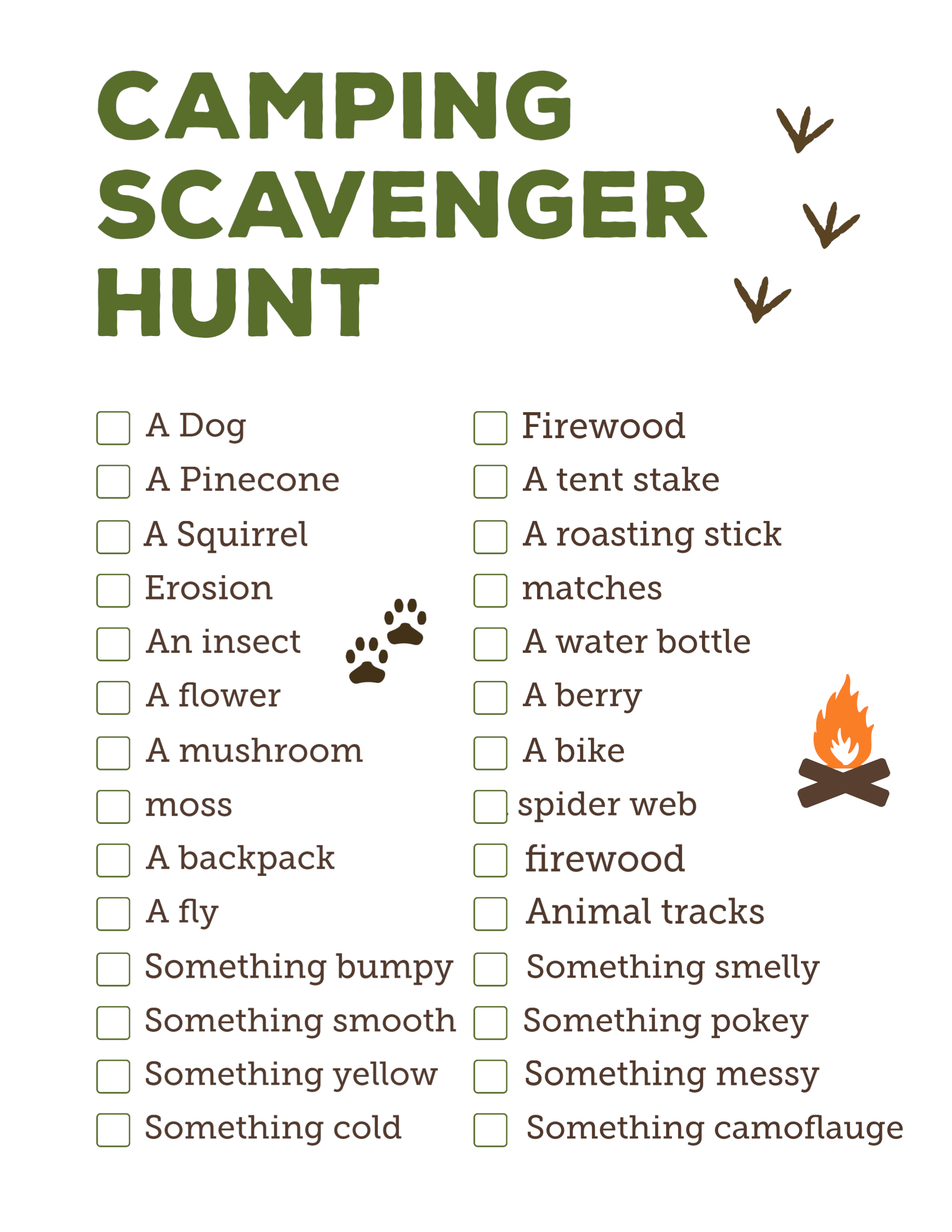 scavenger hunt things you could find camping