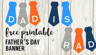 Free Printable Father's Day Banner. DIY Happy Father's Day Decor. Dad is Rad Tie Banner. Tie Sign Father's Day Gift for Dad. #papertraildesign #fathersday #fathersdaygift #dadsday