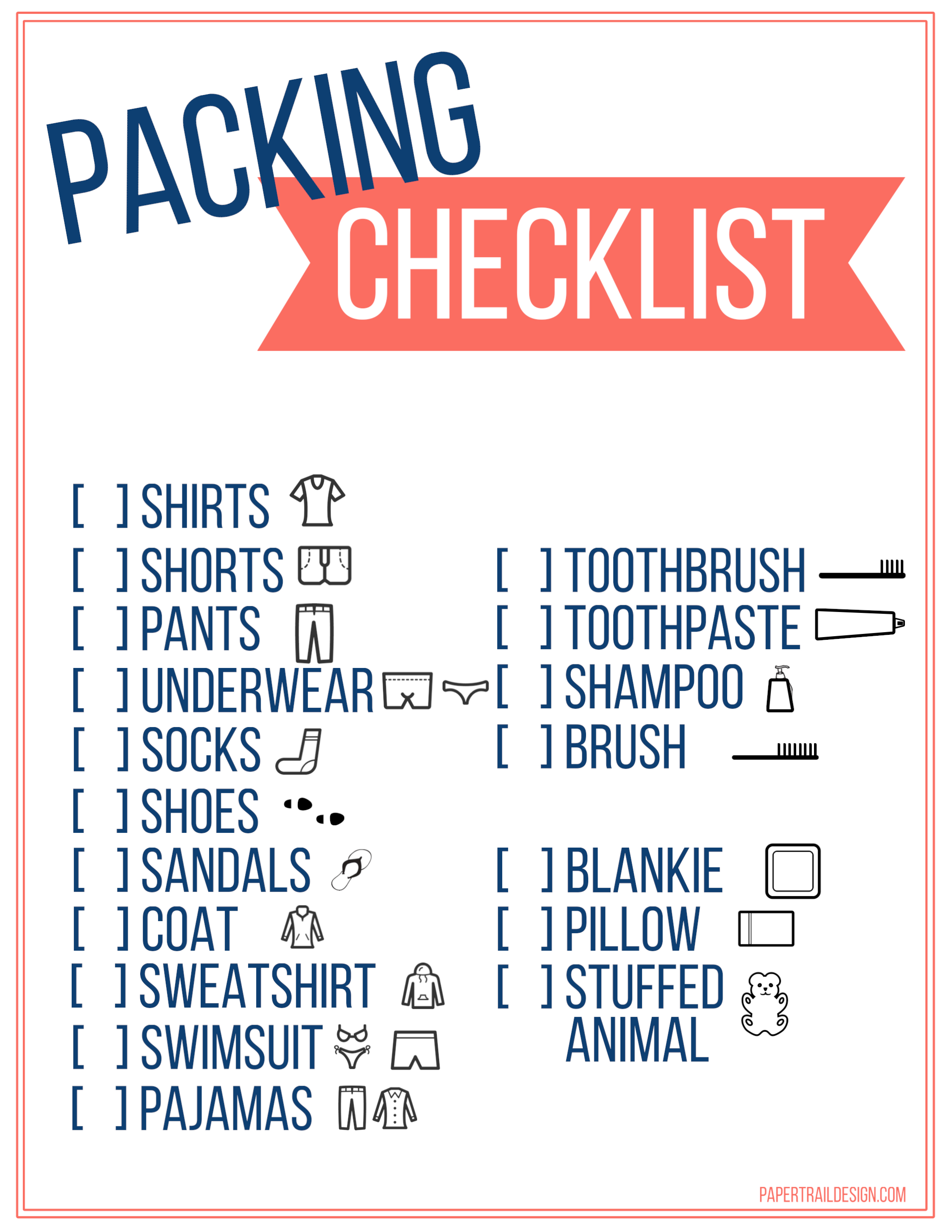 Free Printable Vacation Packing List Template for Kids ...