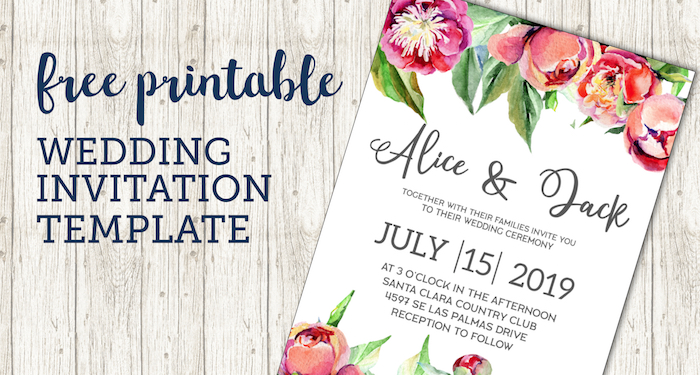 Free Wedding Invitation Template Floral Peonies Paper Trail Design