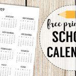 2018-2019 School Calendar Printable Free Template. School year academic calendar free printable for organizer or planner. Year at a glance page. #papertraildesign #backtoschool #schoolplanner #schoolorganizer