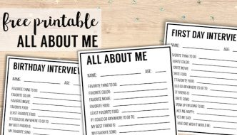 All About Me Printables {Interview Template}. Use this all about me free printable for a birthday interview, or back to school interview for kids. #papertraildesign #backtoschool #birthday #allaboutme