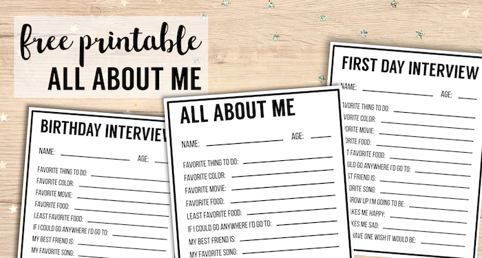 All About Me Printables Interview Template Paper Trail Design