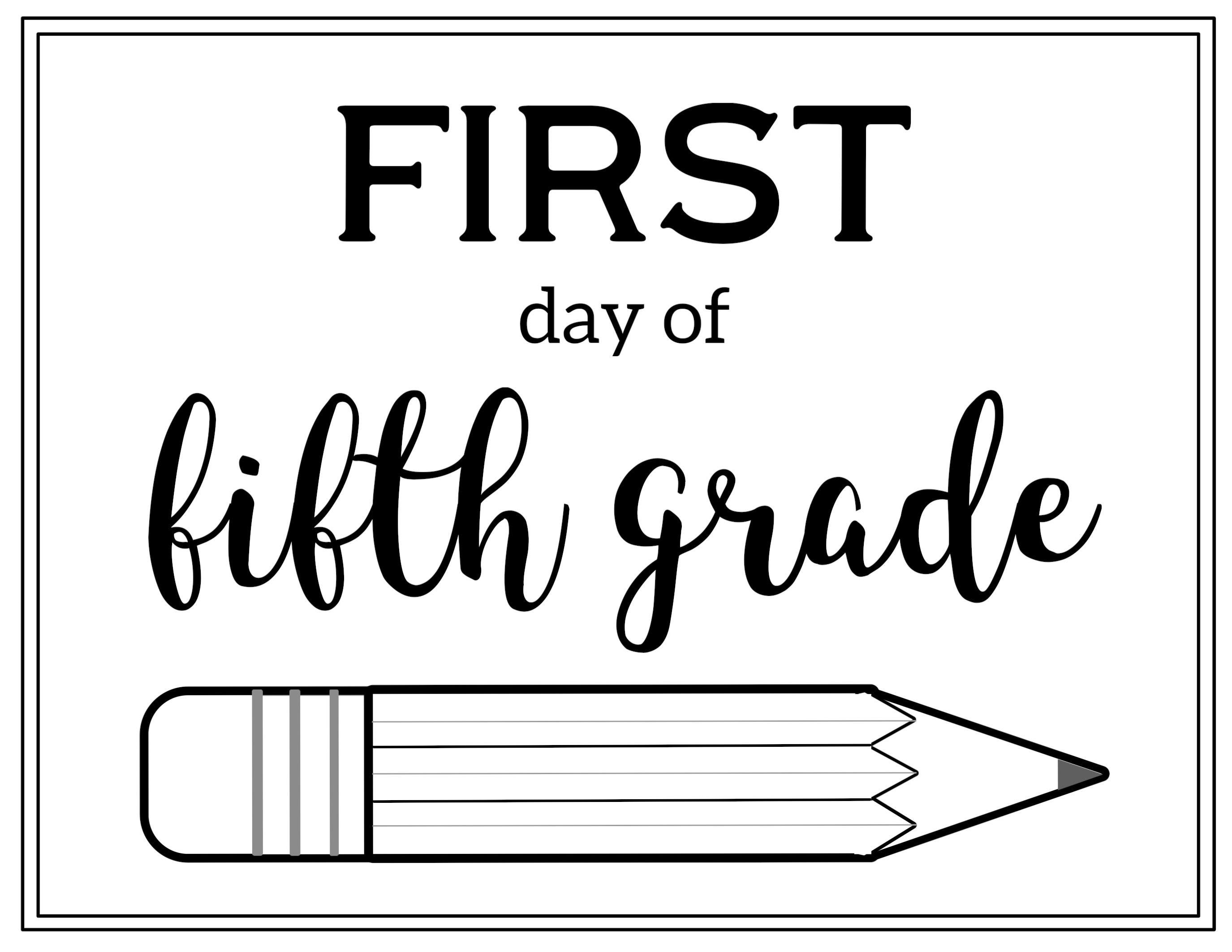 graphic relating to First Day of 5th Grade Printable titled No cost Printable Very first Working day of Higher education Signal Pencil - Paper