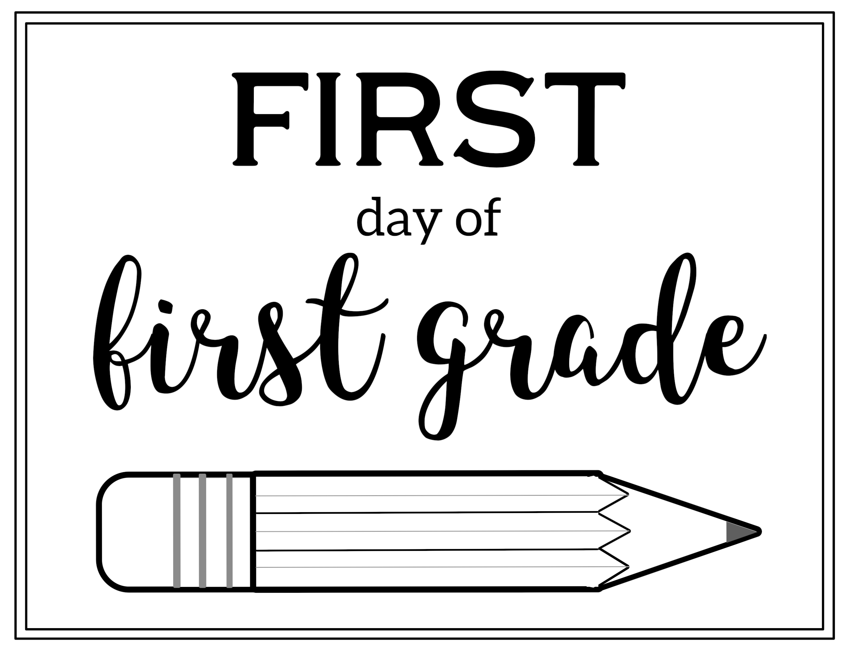 image relating to First Day of Second Grade Printable Sign called Totally free Printable Very first Working day of College or university Signal Pencil - Paper