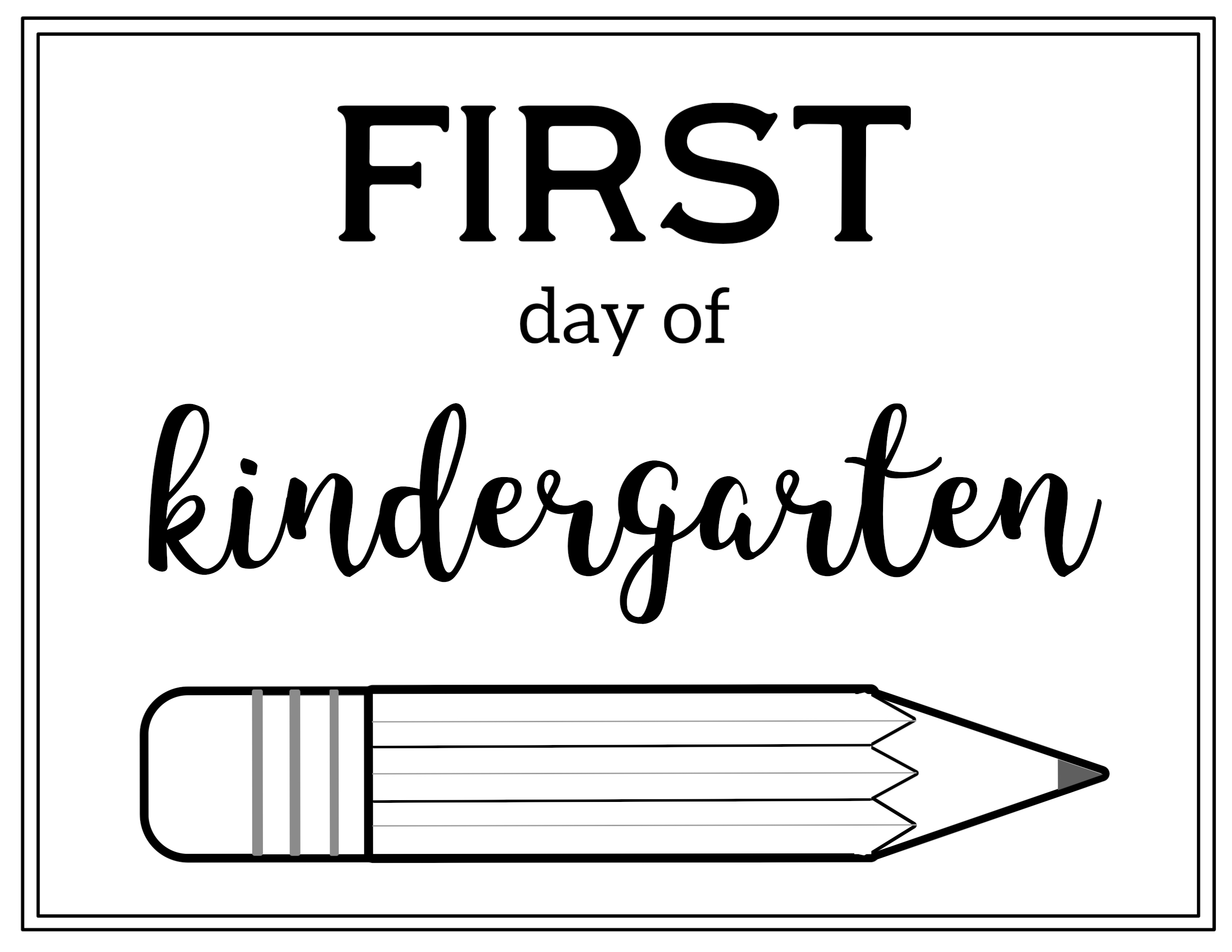 Free Printable First Day Of School Sign Pencil Paper Trail Design