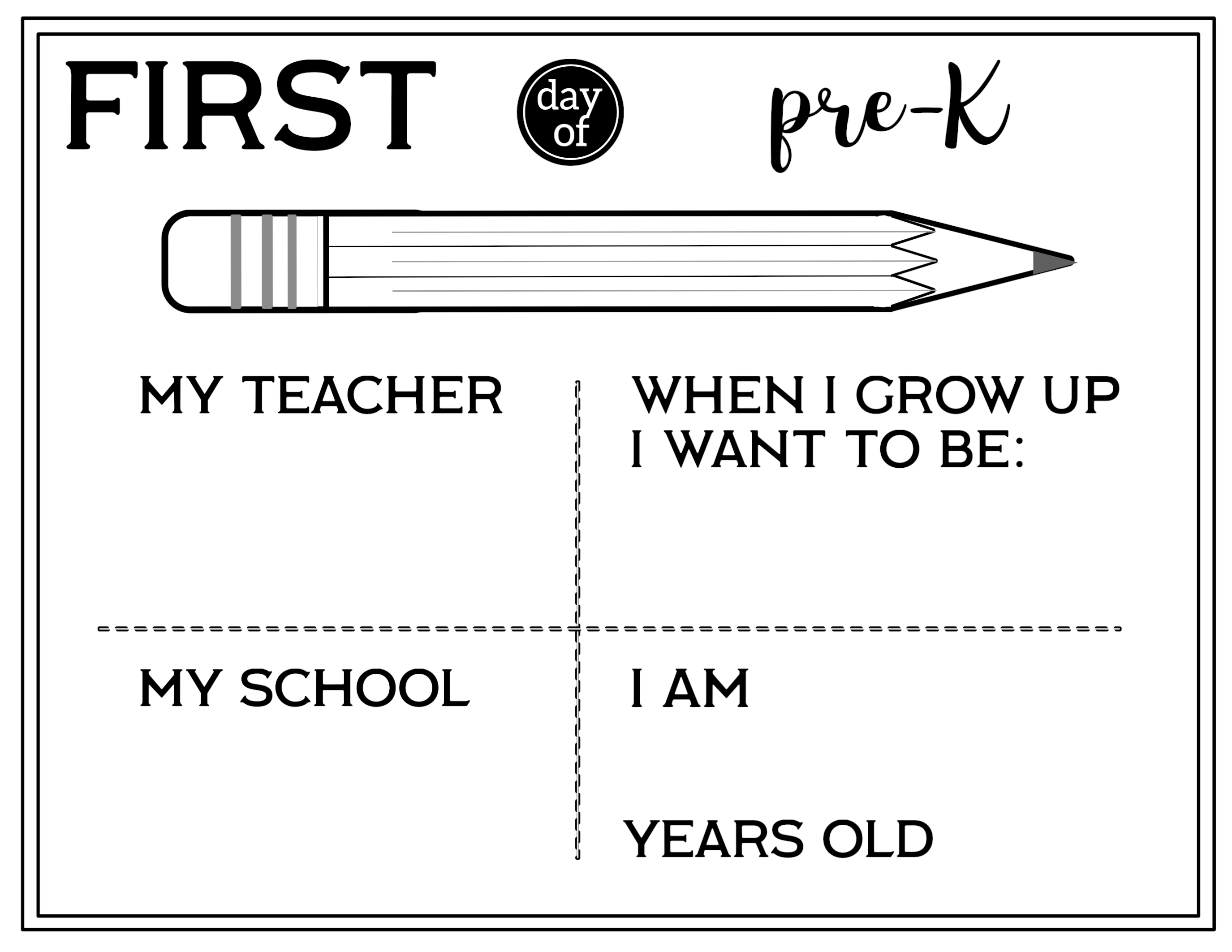 Free Printable First Day of School All About Me Sign - Paper ...