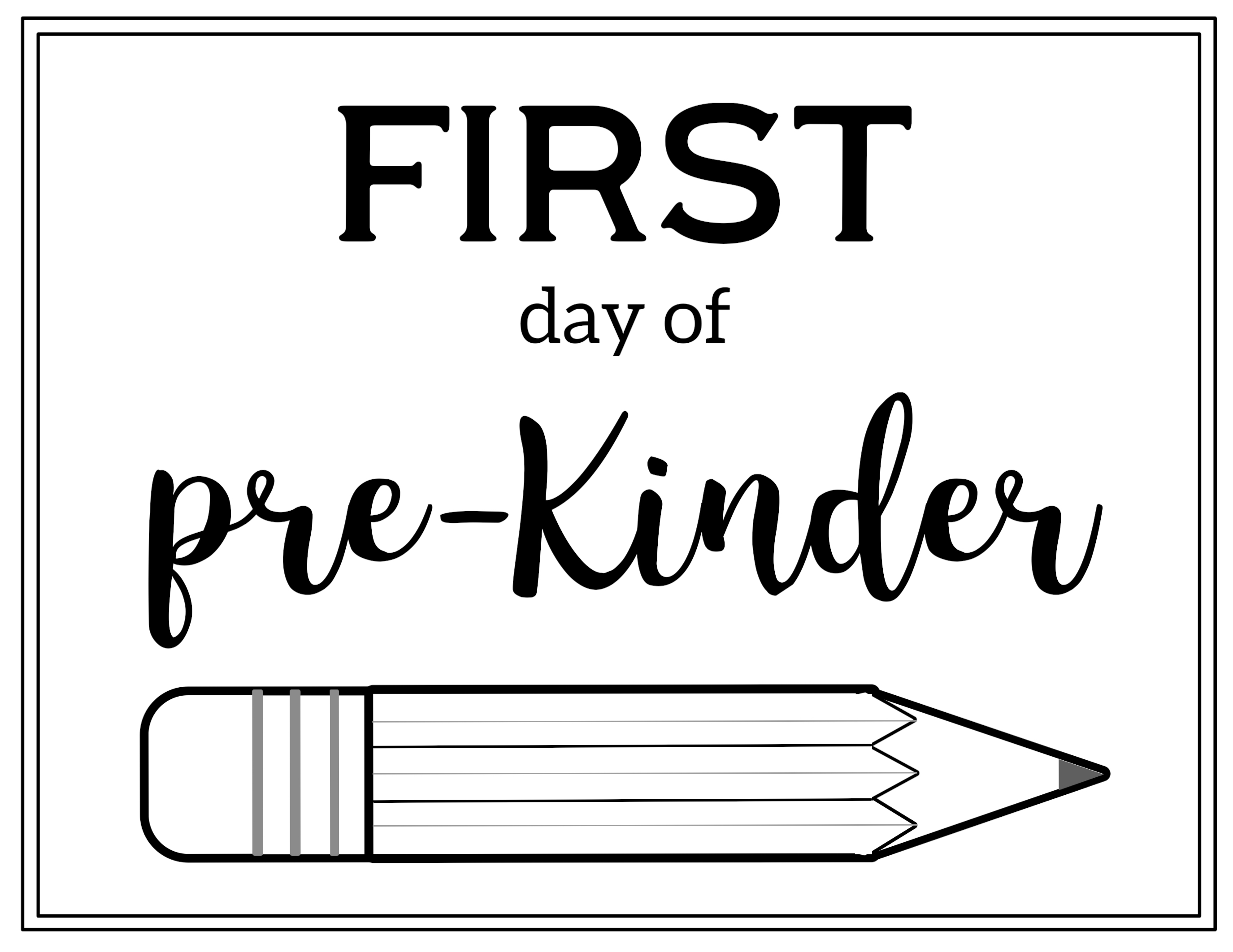 photo about First Day of Pre K Sign Printable known as Free of charge Printable 1st Working day of Higher education Signal Pencil - Paper
