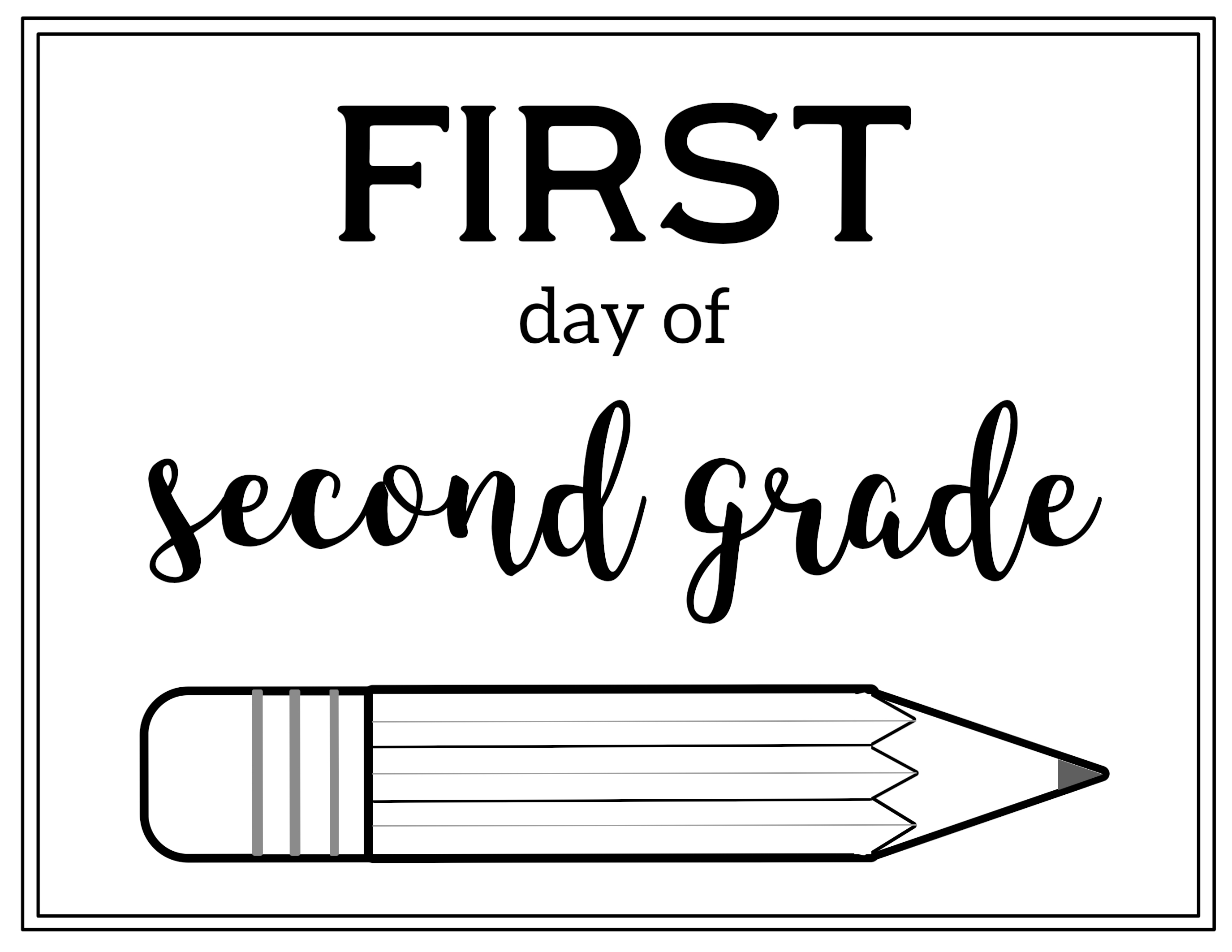 It's just a photo of Fan First Day of Second Grade Free Printable