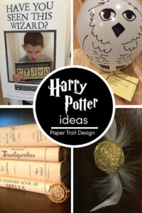 Harry potter party ideas for a Harry potter birthday party with text overlay- free printable Harry Potter ideas