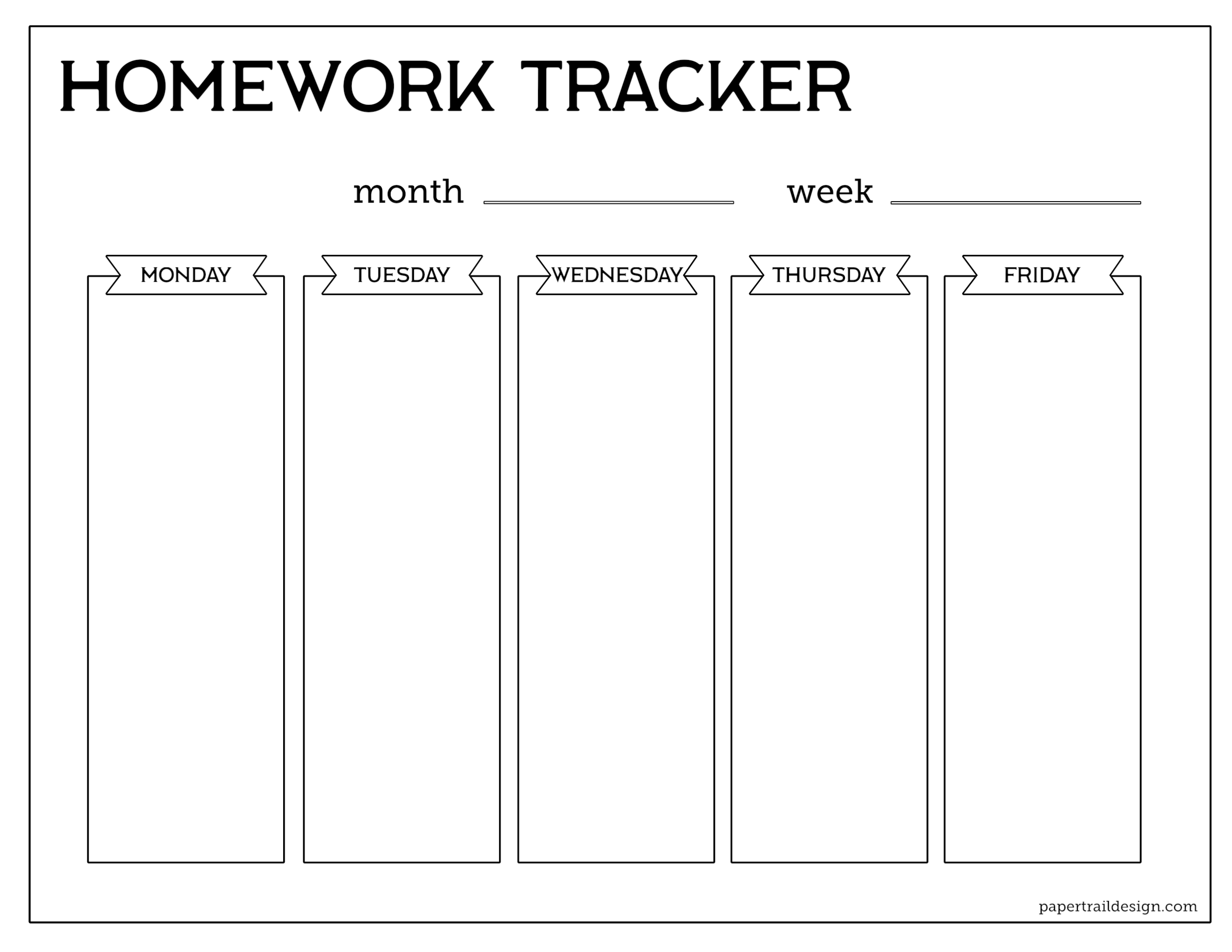 Click The Following Links To Print Free Printable Student Homework Planner Template