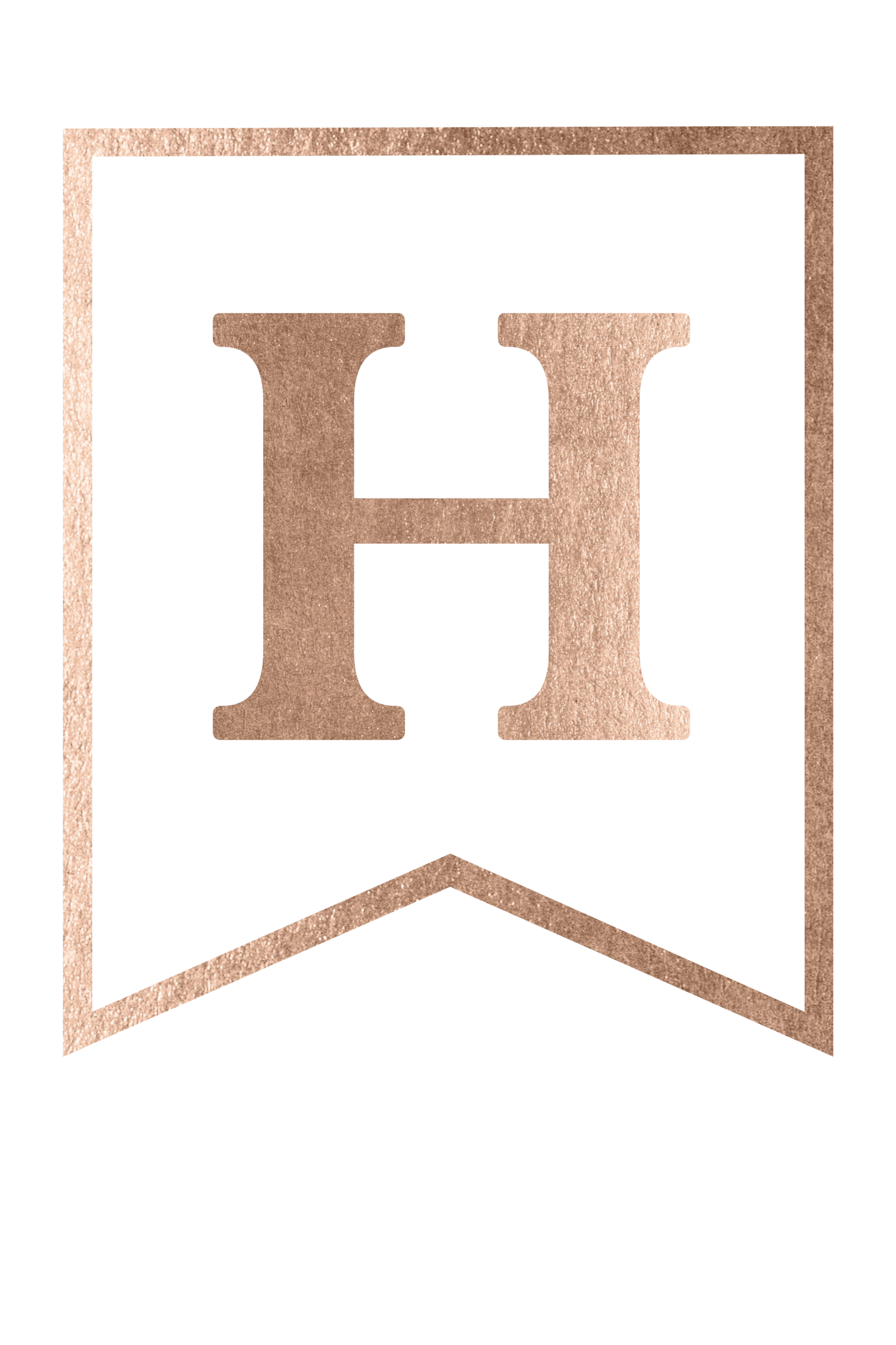 photo about Printable Letter H known as Cost-free Printable Rose Gold Banner Template - Paper Path Layout