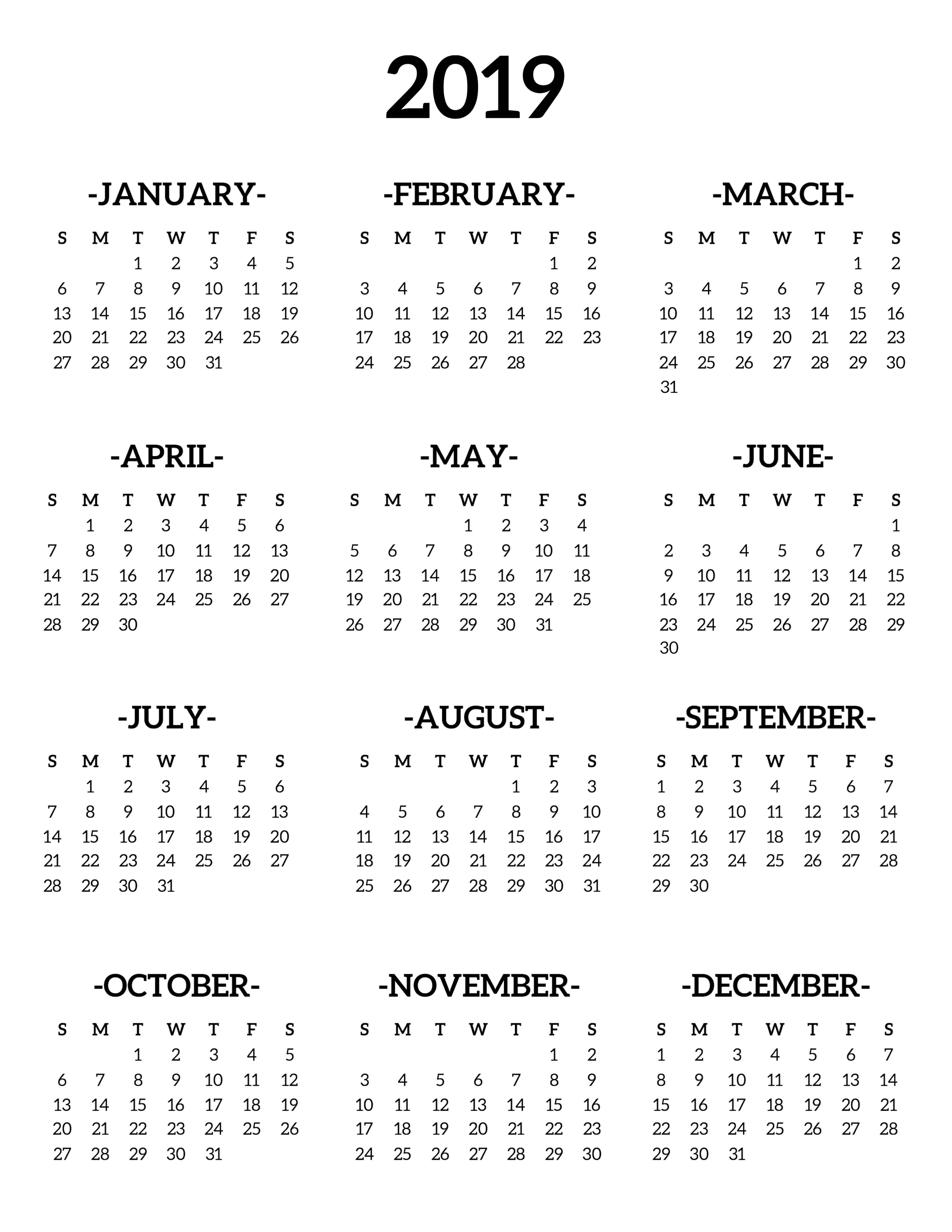 2019 one page calendar free printable template