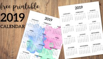 Calendar 2019 Printable One Page. Free printable 2019 full year desk calendar on one page. 2019 year at a glance. #papertraildesign #calendar #2019 #deskcalendar