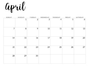 2019 Calendar Printable Free Template. April 2019 monthly free printable wall or desk calendar. Hand lettered from January through December help you get organized.