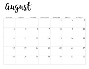 2019 Calendar Printable Free Template. August 2019 monthly free printable wall or desk calendar. Hand lettered from January through December help you get organized.