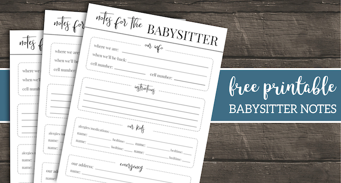 free printable babysitter notes template paper trail design