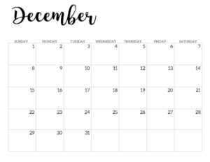 2019 Calendar Printable Free Template. December 2019 monthly free printable wall or desk calendar. Hand lettered from January through December help you get organized.