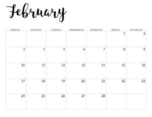 2019 Calendar Printable Free Template. February 2019 monthly free printable wall or desk calendar. Hand lettered from January through December help you get organized.