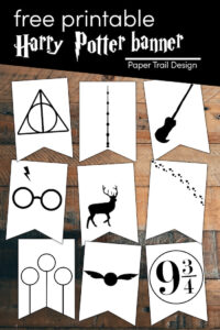 Harry Potter banner flags with quittitch, snitch, 9 3/4, deathly hallows, elder wand, broom, stag, and more with text overlay free printable Harry Potter banner
