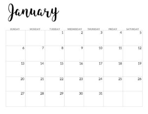 2019 Calendar Printable Free Template. January 2019 monthly free printable wall or desk calendar. Hand lettered from January through December help you get organized.