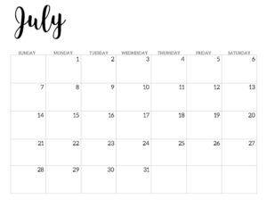 2019 Calendar Printable Free Template. July 2019 monthly free printable wall or desk calendar. Hand lettered from January through December help you get organized.
