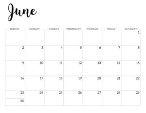 2019 Calendar Printable Free Template. June 2019 monthly free printable wall or desk calendar. Hand lettered from January through December help you get organized.