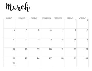 2019 Calendar Printable Free Template. March 2019 monthly free printable wall or desk calendar. Hand lettered from January through December help you get organized.