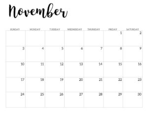 2019 Calendar Printable Free Template. November 2019 monthly free printable wall or desk calendar. Hand lettered from January through December help you get organized.