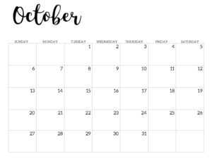 2019 Calendar Printable Free Template. October 2019 monthly free printable wall or desk calendar. Hand lettered from January through December help you get organized.