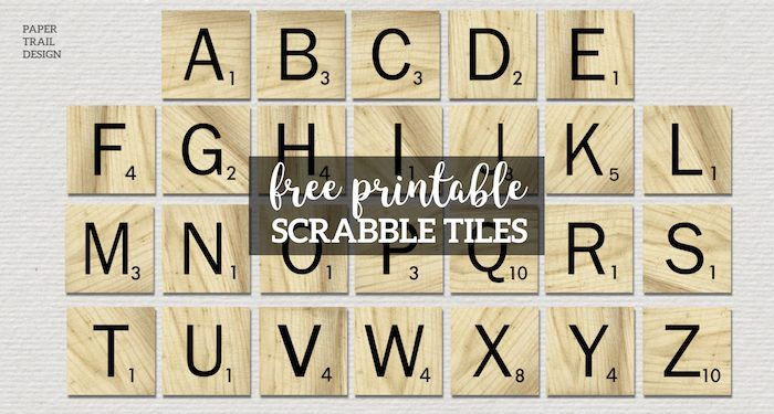Free Printable Scrabble Letter Tiles Sign. Printable DIY Wall Art Scrabble letters. Party decorations ideas or scrapbook letters. #papertraildesign #scrabble #scrabbleletters #scrabbletiles