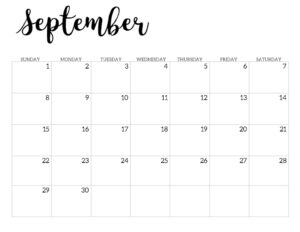 2019 Calendar Printable Free Template. September 2019 monthly free printable wall or desk calendar. Hand lettered from January through December help you get organized.