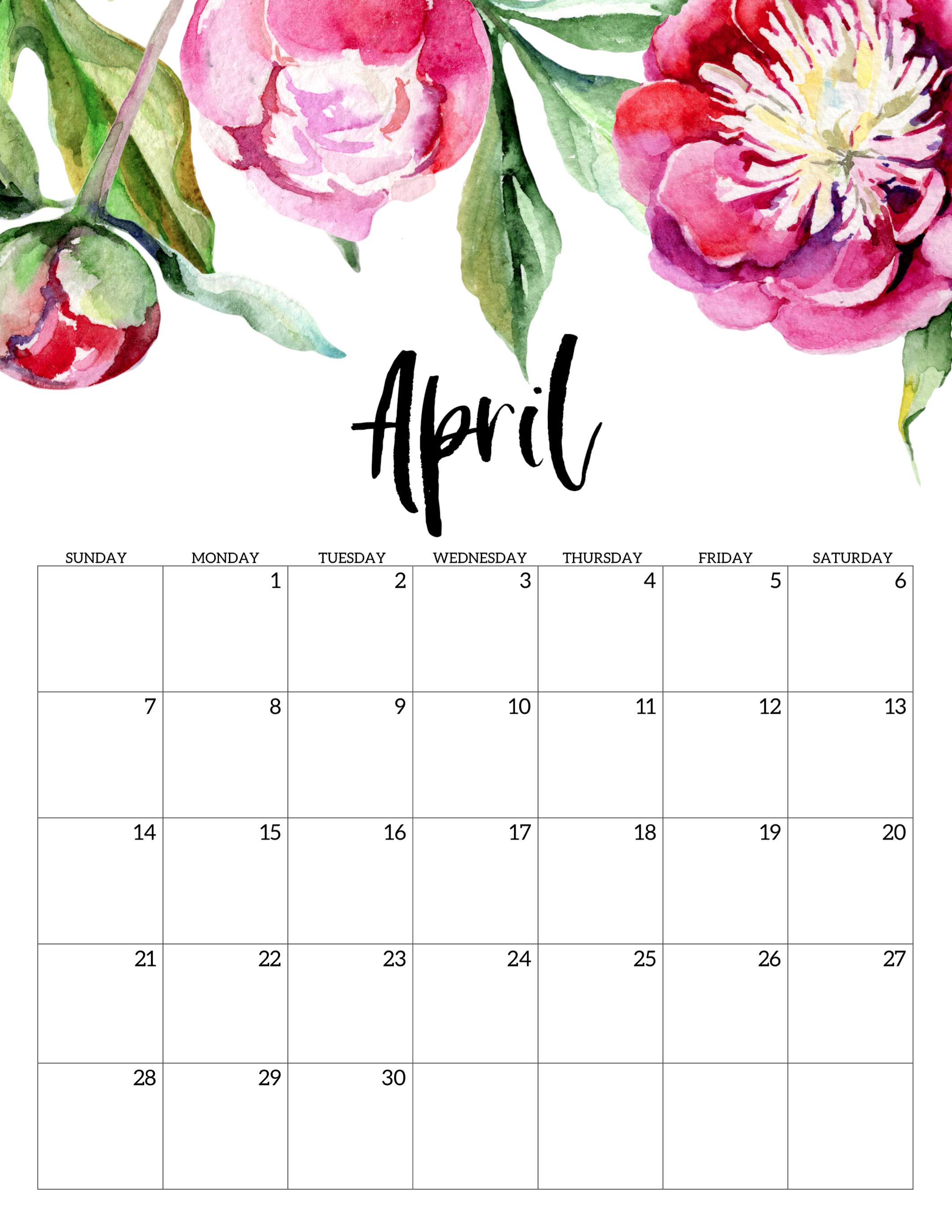 image about April Free Printable Calendar titled Totally free Printable Calendar 2019 - Floral - Paper Path Style