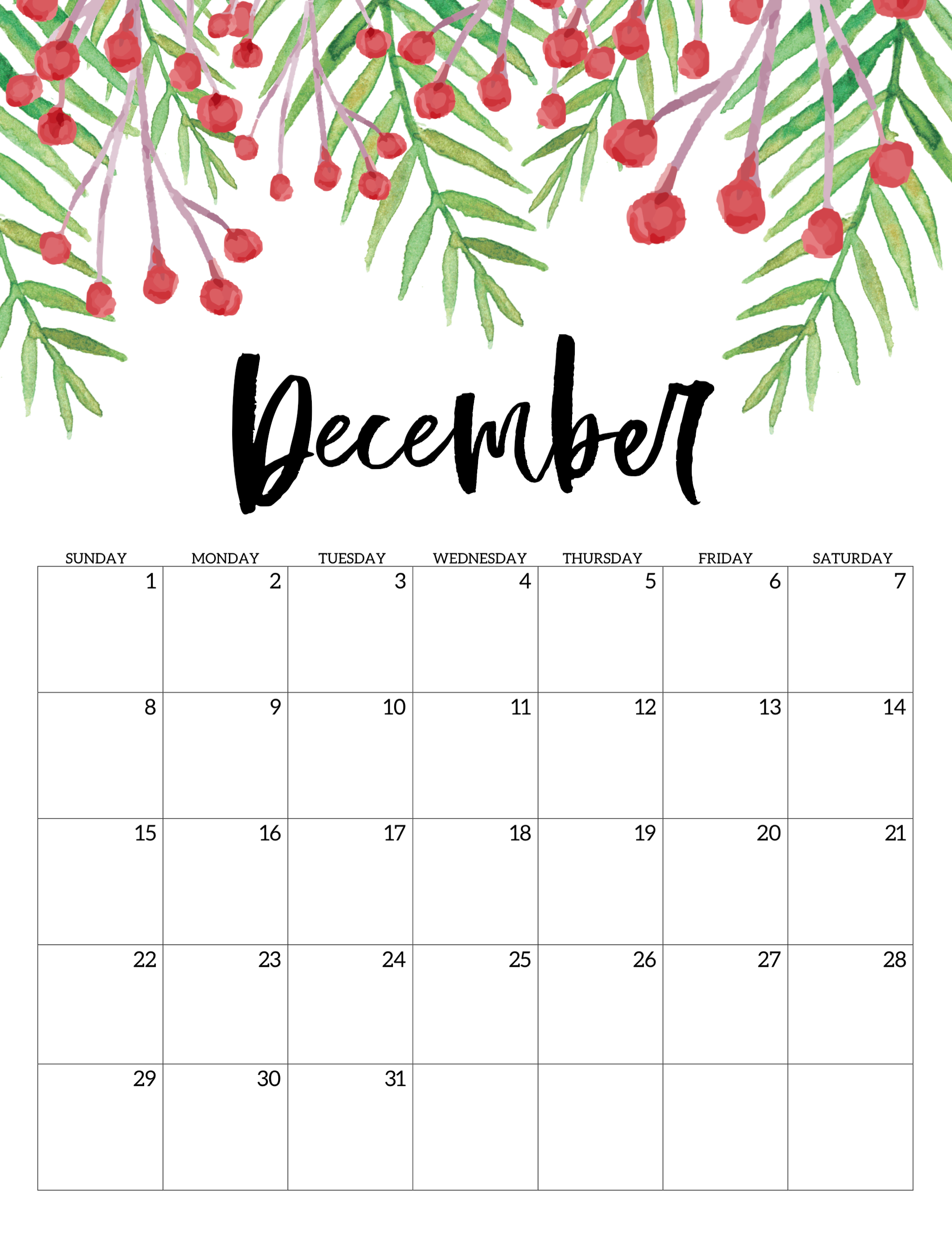photograph about November and December Calendar Printable identified as Free of charge Printable Calendar 2019 - Floral - Paper Path Style and design