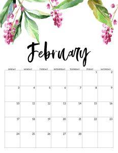 free printable calendar 2019 floral paper trail design