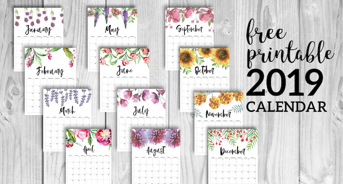 Free Printable 2019 Calendars Templates Paper Trail Design