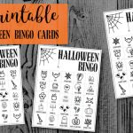 Halloween Bingo Printable Game Cards Template. Fun kids Halloween party game. Easy Halloween activity with 16 different Bingo cards. #papertraildesign #halloween #halloweengames #halloweenactivities